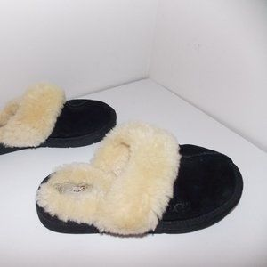 UGG Cozy II black leather suede slippers size 6